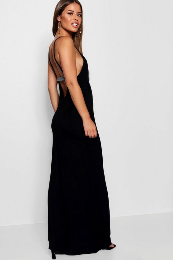 Petite Scoop Back Tape Detail Maxi Dress