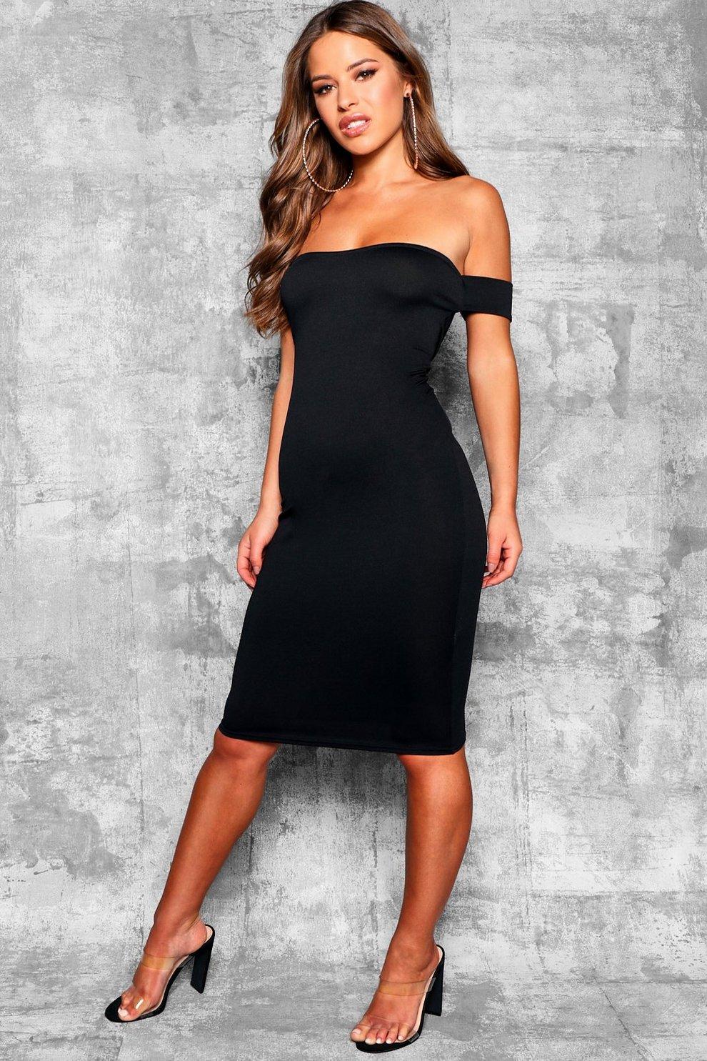 47583403899e2 Petite Off the Shoulder Midi Dress | Boohoo