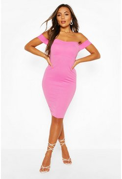 Fuchsia Petite  Off the Shoulder Midi Dress