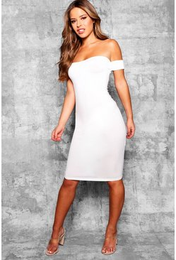 Womens Ivory Petite Off the Shoulder Midi Dress