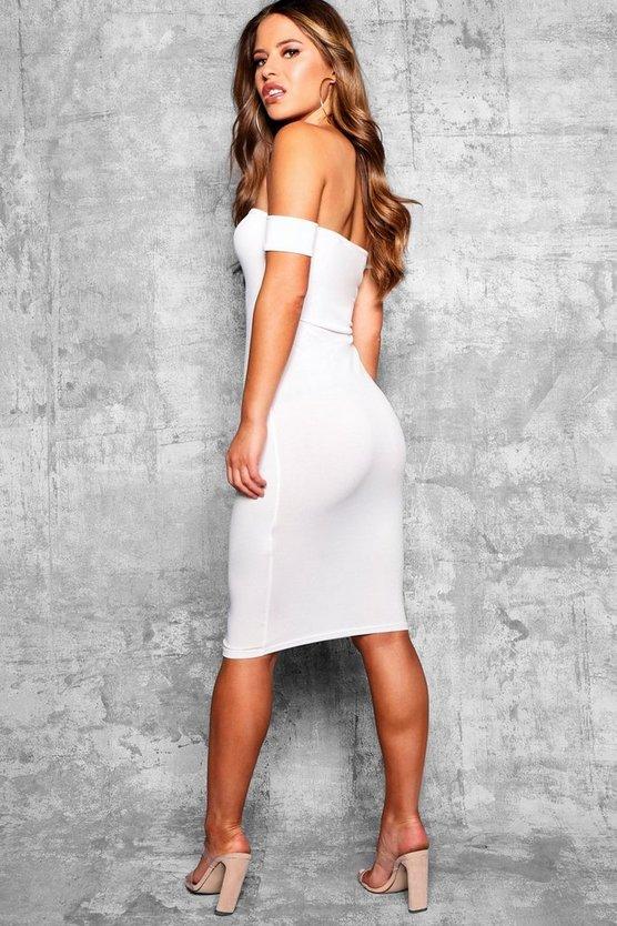 Petite Off the Shoulder Midi Dress