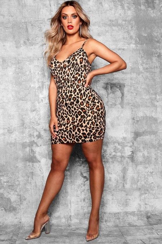 Womens Stone Plus  Leopard Print Strappy Bodycon Dress