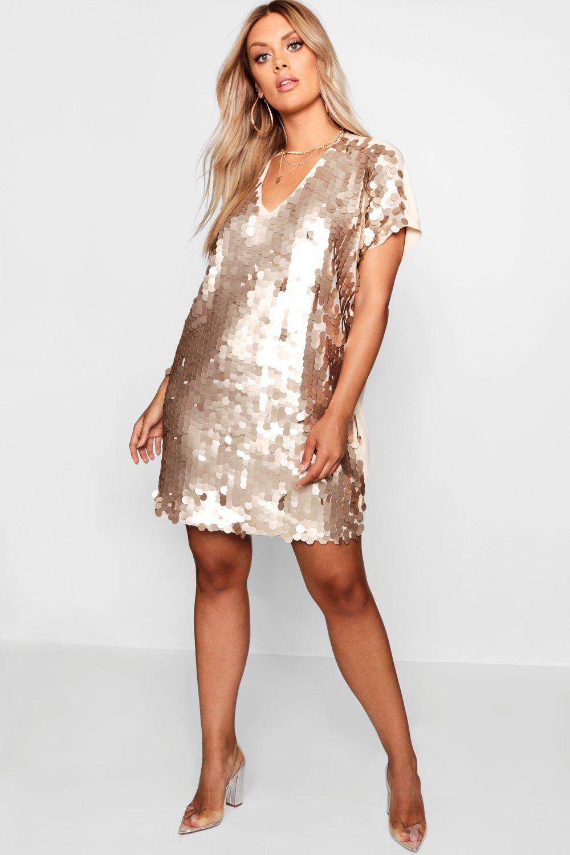70s Dresses – Disco Dress, Hippie Dress, Wrap Dress Womens Plus Sequin Disk Shift Dress - metallics - 14 $36.50 AT vintagedancer.com