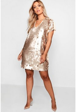 Womens Gold Plus Sequin Disk Shift Dress