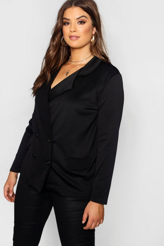 Womens Black Plus Eve Double Breasted Contrast Button Blazer