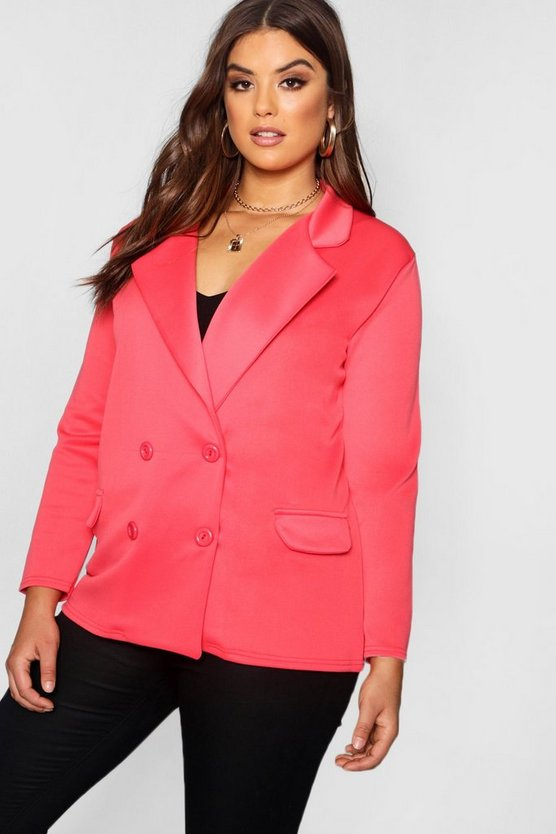 Plus Eve Double Breasted Contrast Button Blazer
