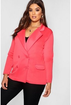 Womens Coral Plus Eve Double Breasted Contrast Button Blazer