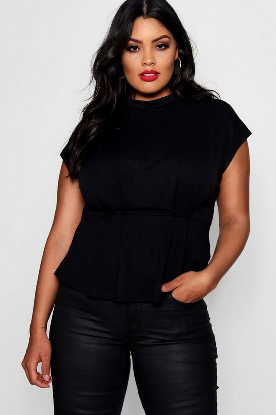 Plus Toya Peplum Pleat High Neck Top