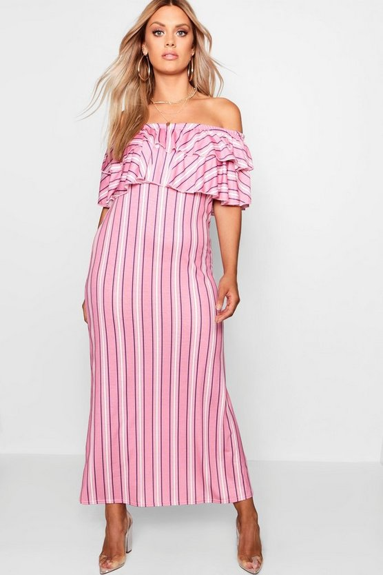 Plus Striped Ruffle Maxi Dress