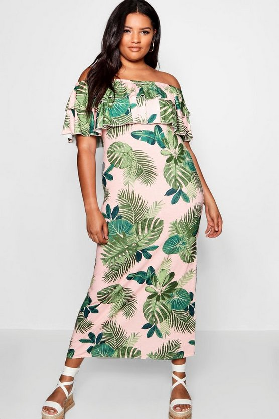 Plus Palm Print Off Shoulder Maxi Dress