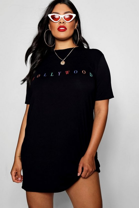 Plus Rose Rainbow Slogan Oversized T-shirt Dress