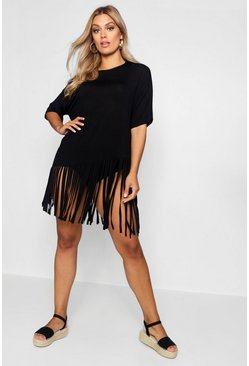 Black Plus Tassel Beach Dress