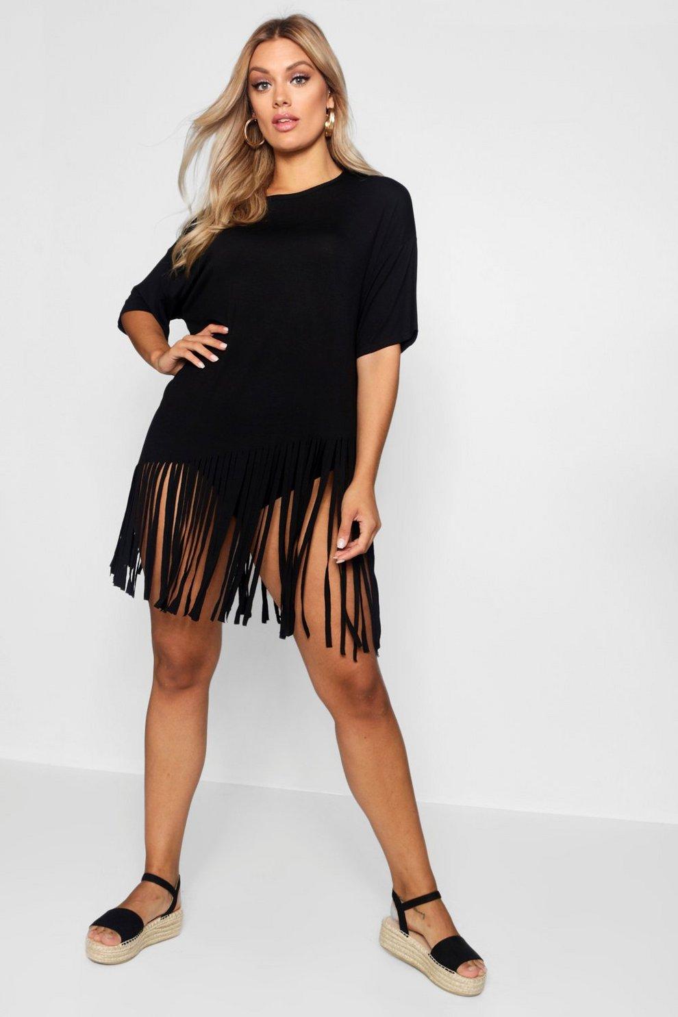 Strandkleid schwarz mit fransen