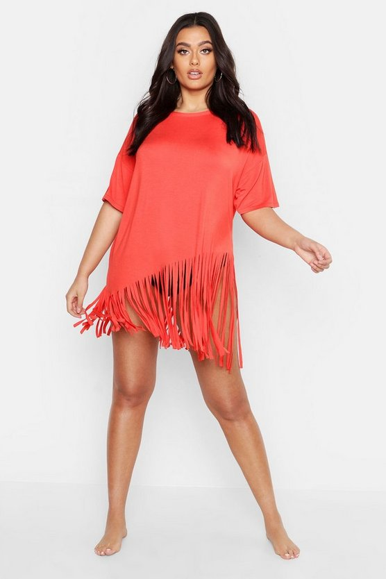 Womens Orange Plus Tassel Beach Dress