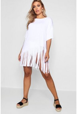 Plus Tassel Beach Dress, White, Donna
