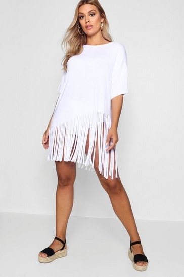 Womens White Plus Tassel Beach Dress