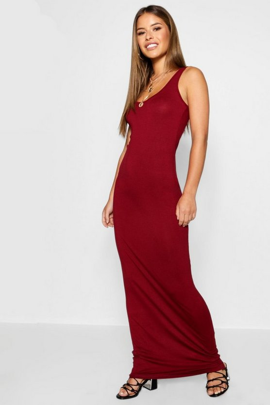 Womens Berry Petite Scoop Neck Maxi Dress