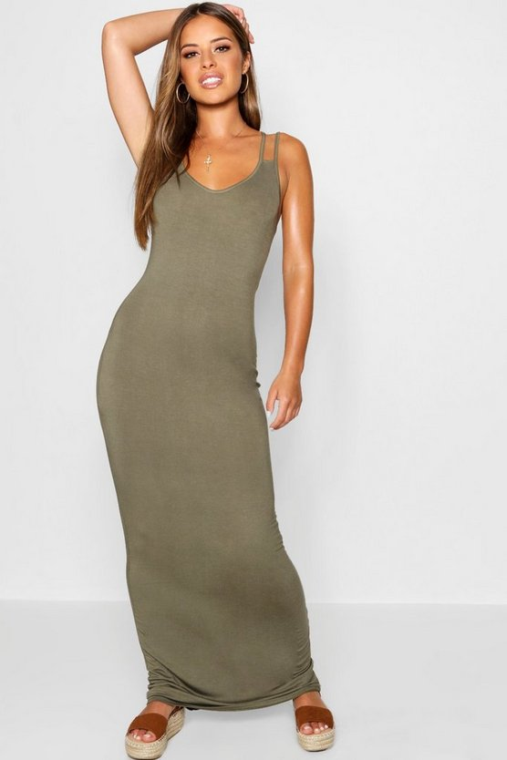 Womens Petite Strappy Basic Maxi Dress