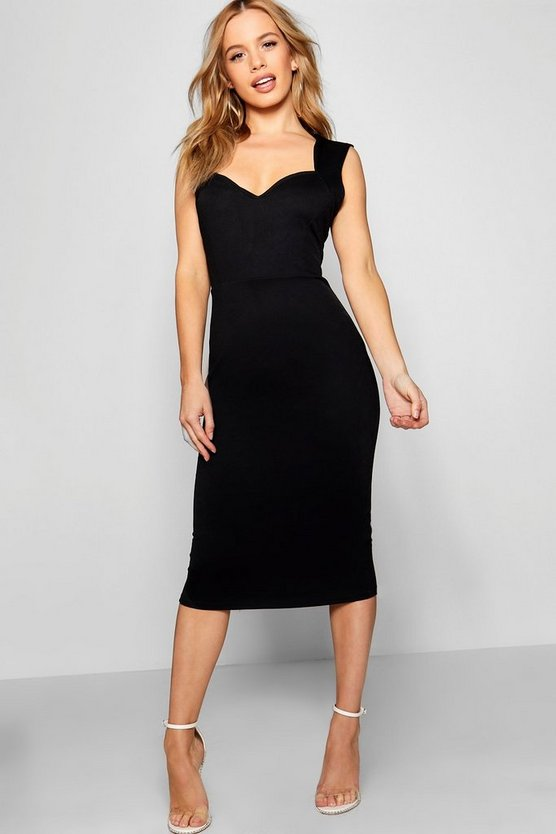 Petite Sweetheart Neckline Midi Dress