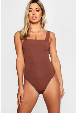 Chocolate Petite  Rib Square Neck Thick Strap Body