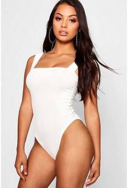 Womens White Petite  Rib Square Neck Thick Strap Body