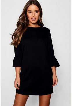 Womens Black Petite  Ruffle Sleeve Shift Dress