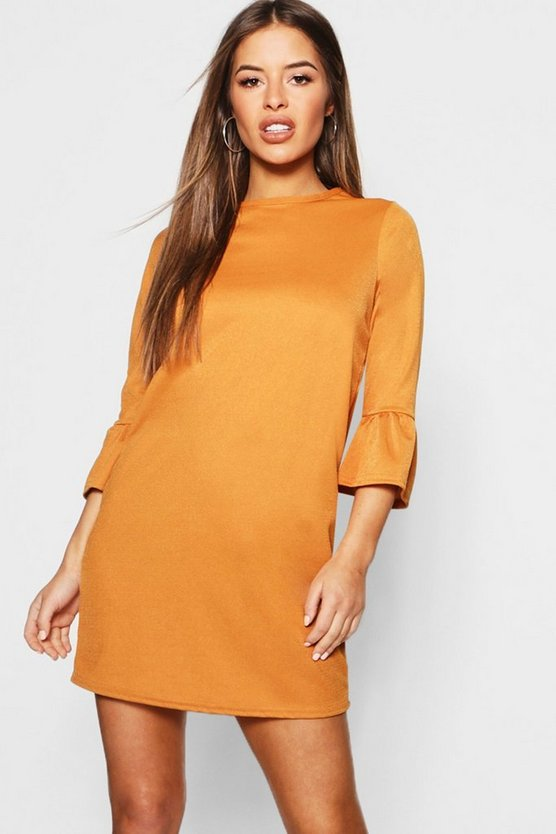 Womens Mustard Petite  Ruffle Sleeve Shift Dress