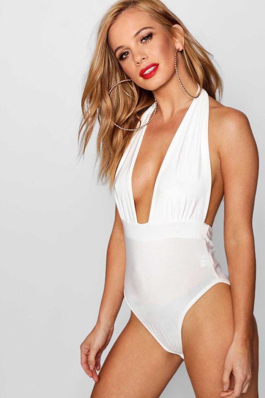 Slinky white Bodysuit Halter Petite Neck Plunge q4xwtHnOa