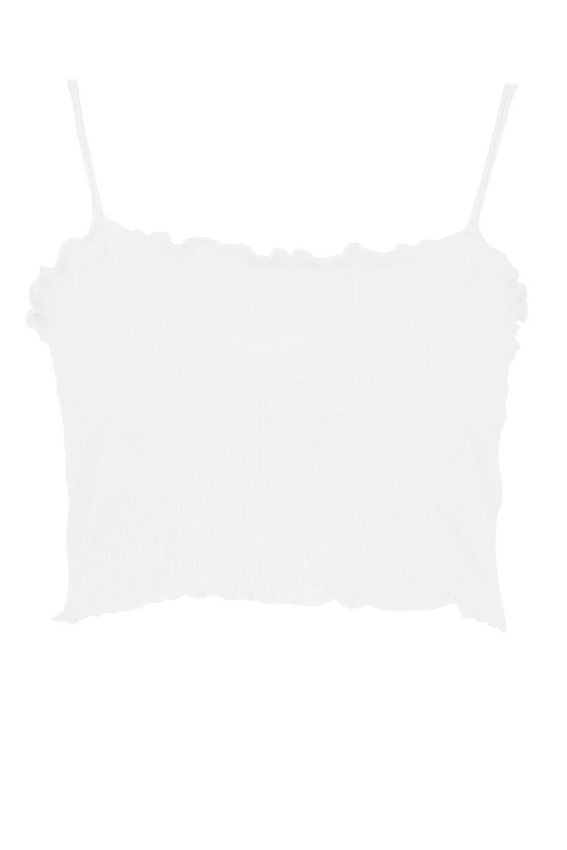 Crop ivory Edge Ruffle Rib Top Plus Cami 6pWS0BWn