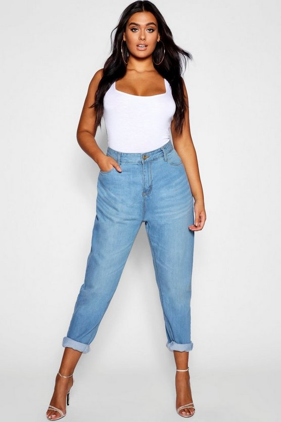 Plus Fabienne High Rise Mom Jeans, Mid blue, Donna