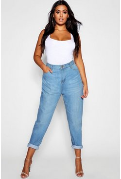 Womens Mid blue Plus Fabienne High Rise Mom Jeans