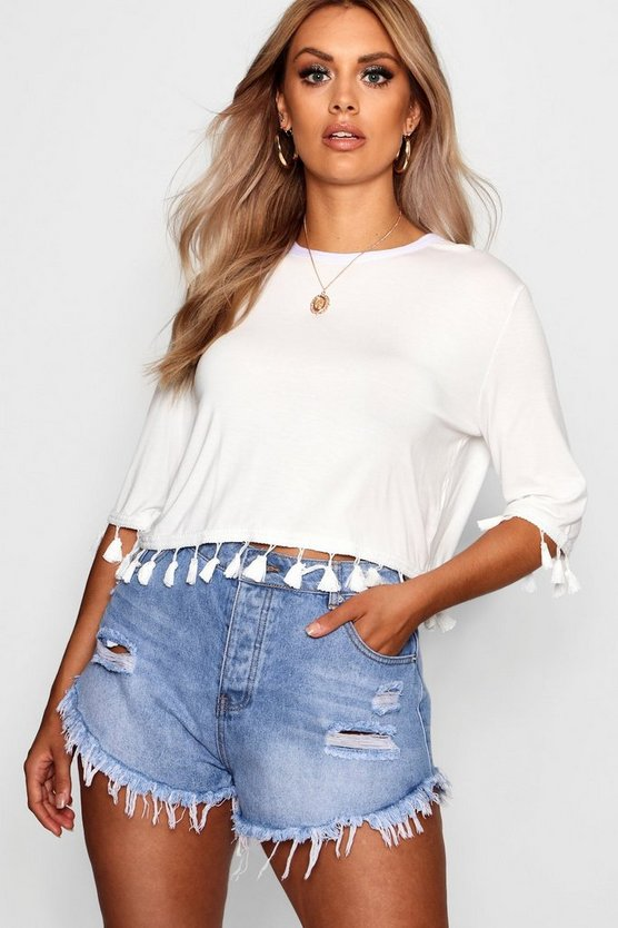 Plus Tassel Trim T Shirt