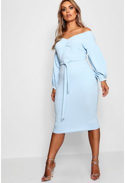 Womens Sky Plus Ruched Off Shoulder Dress