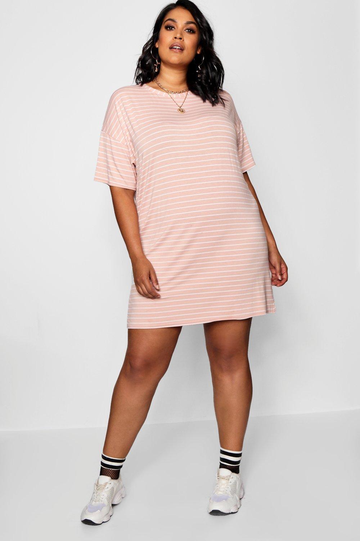 ab13b6dadd14 Plus Jersey Stripe T Shirt Dress   Boohoo