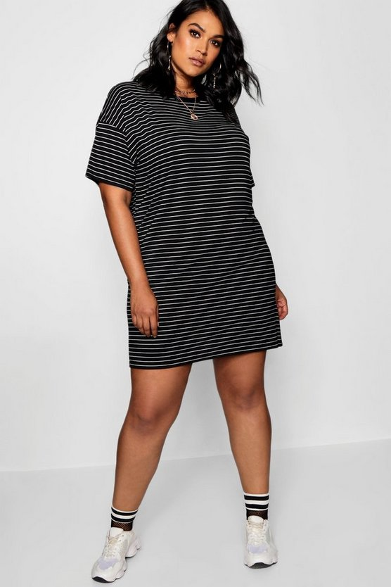 Womens Black Plus Jersey Stripe T Shirt Dress