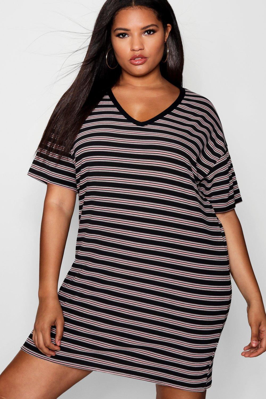 75c6286d448ee3 Plus Kara Rib Stripe T Shirt Dress