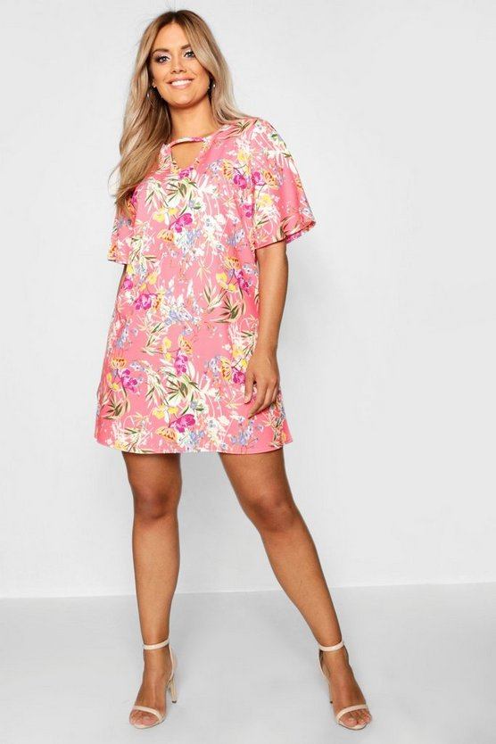Plus Printed Floral Choker Detail Shift Dress