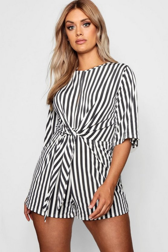 Plus Stripe Twist Front Romper