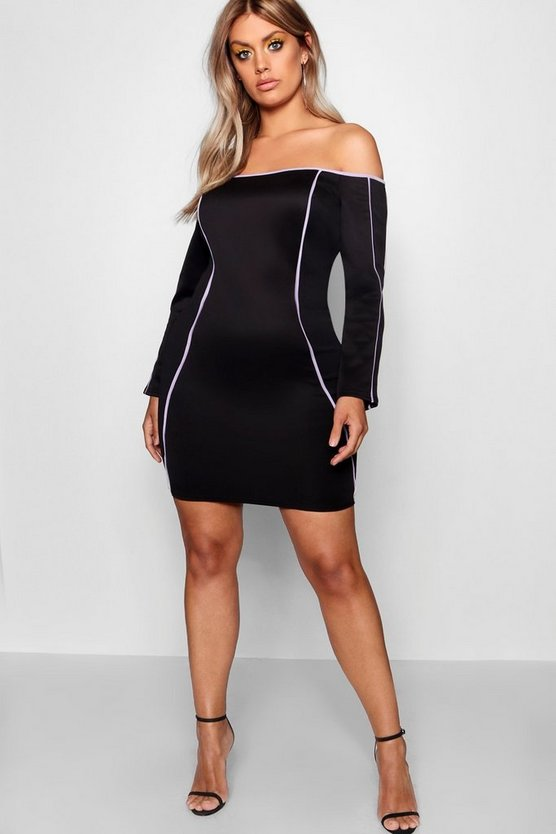 Womens Black Plus Bardot Piping Detail Mini Dress