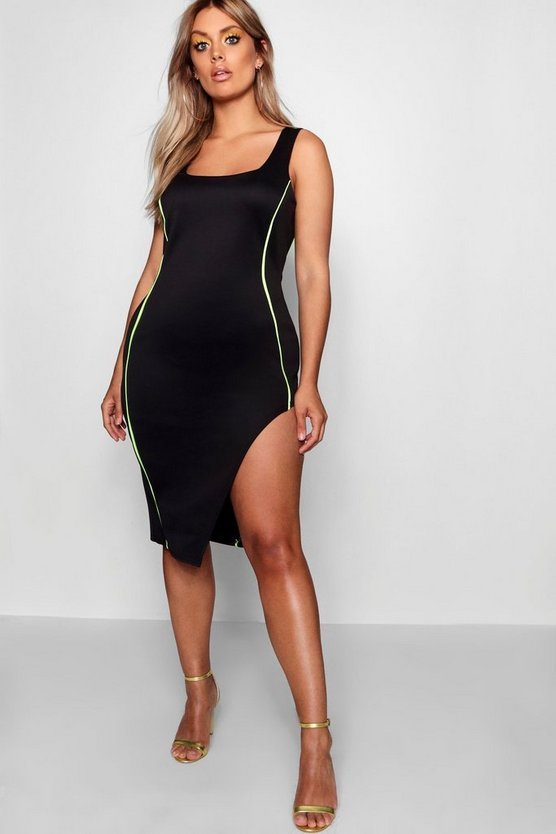 Womens Black Plus  Square Neck Piping Detail Bodycon Dress