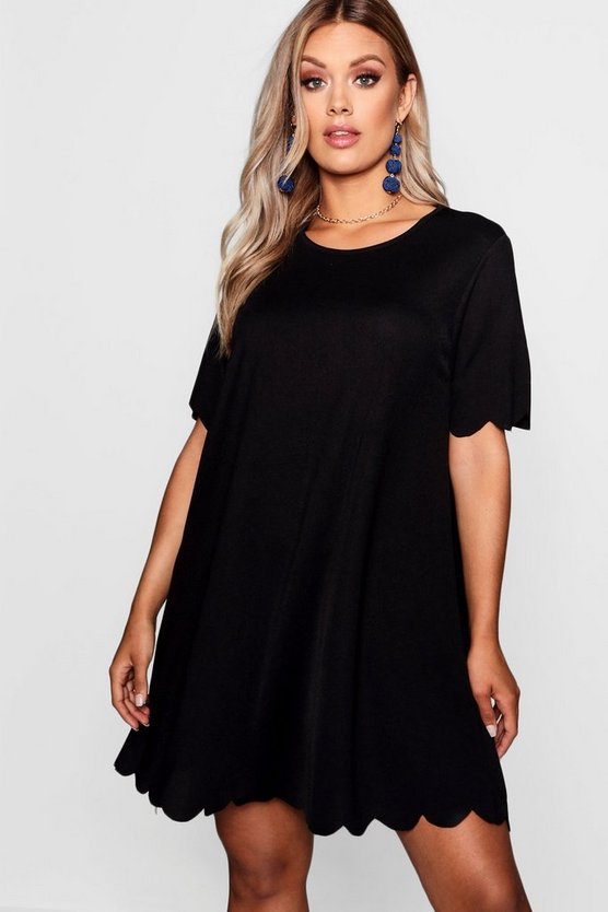 Womens Black Plus Scallop Edge Shift Dress