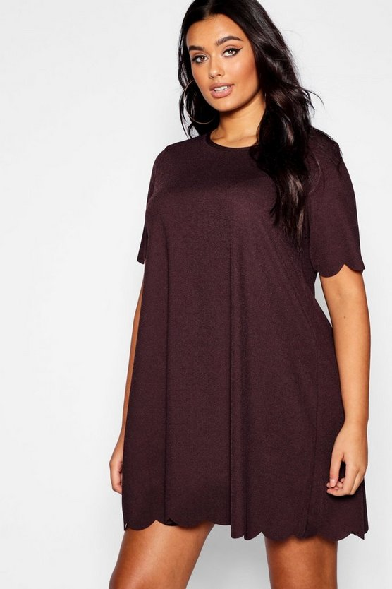 Womens Chocolate Plus Scallop Edge Shift Dress