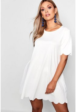 Plus Scallop Edge Shift Dress, Ivory