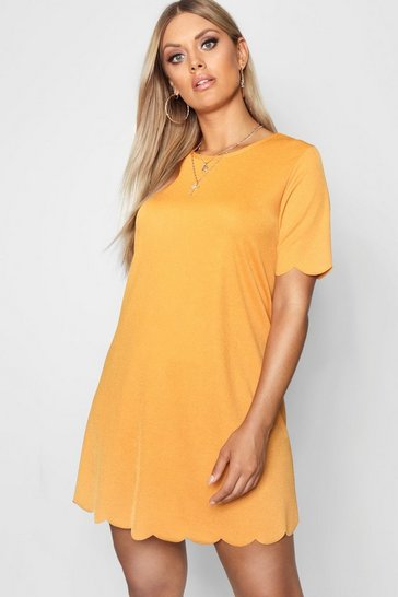 Mustard Plus Scallop Edge Shift Dress