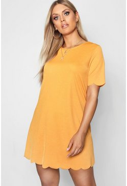 Womens Mustard Plus Scallop Edge Shift Dress