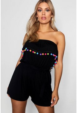 Womens Black Plus Daisy Pom Pom Beach Playsuit