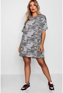Plus T-Shirt-Kleid in Camo-Print, Khaki