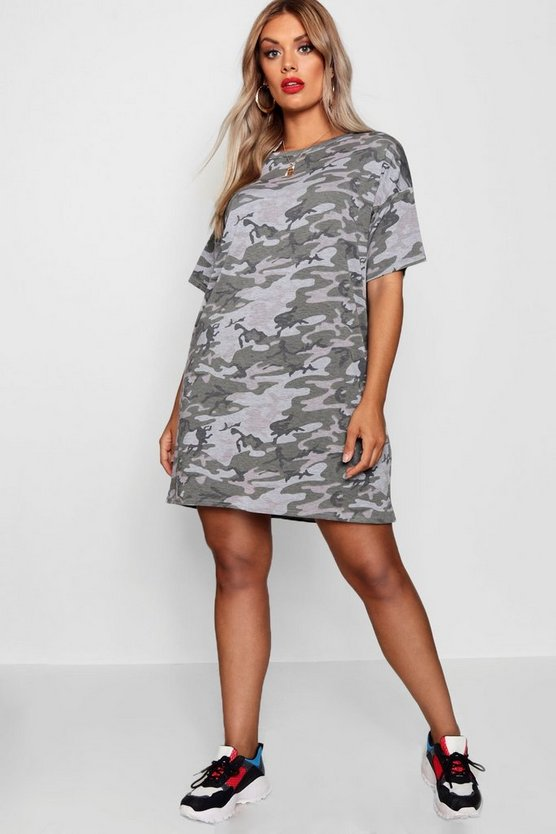 Plus Camo Print T Shirt Dress, Khaki, Donna