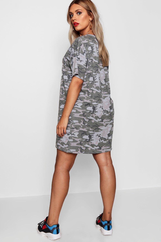 ce18944e34c6c Womens Khaki Plus Camo Print T Shirt Dress. Hover to zoom. Close video