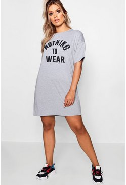 Womens Grey Plus Nothing To Wear T Shirt Dress